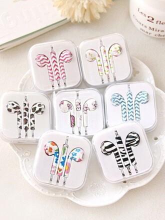 earphones zebra animal print leopard print cute flowers colorful butterfly