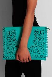 bag,laser cut,jade green,clutch,pattern