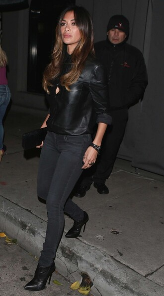 blouse top jeans ankle boots nicole scherzinger all black everything fall outfits shoes leather leather shirt