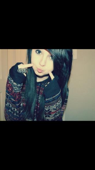 sweater hoodie aztec aztec sweater aztec hoodie girly grunge jacket winter sweater winter winter outfits hipster emo dark