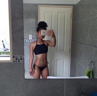 swimwear black halter top black bikini