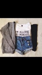 cardigan,top,white t-shirt,graphic tee,shirt,i'm allergic to monday