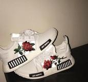 shoes,adidas,rose,white,adidas shoes,red rose,off-white,shose
