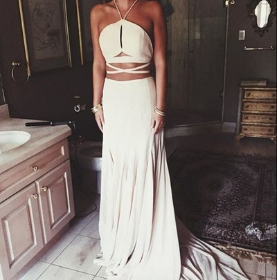 Natural Formal Dress Custom Made Sleeveless Sweep/Brush Train A-Line Bandage Backless Halter Satin Chiffon Dress
