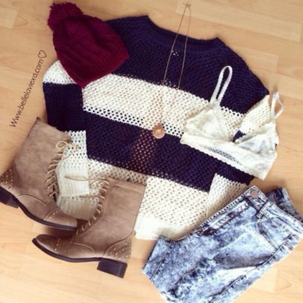 hat jewels shoes jeans sweater underwear