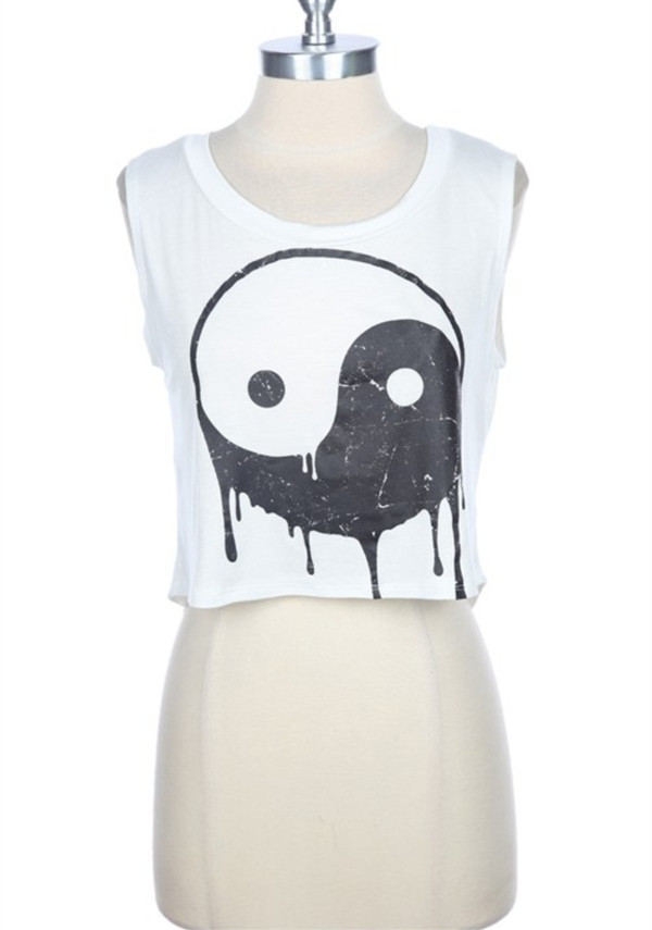 shirt yin yang yin yang shirt white crop tops high top High waisted shorts high waisted yin yang black white