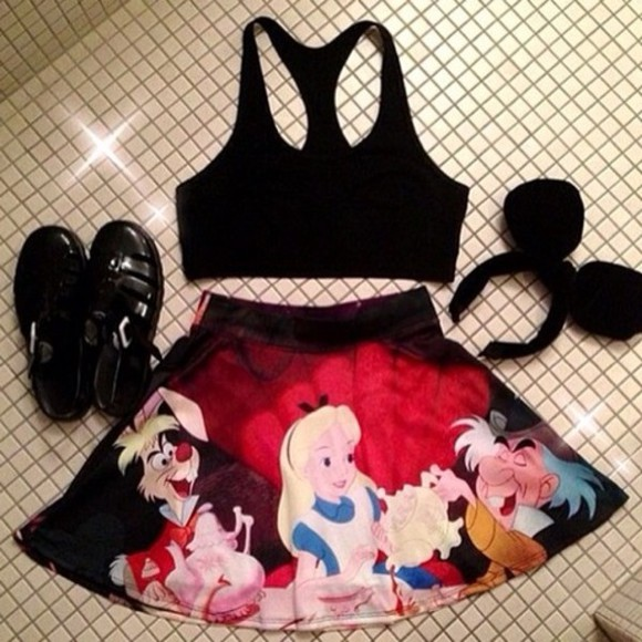 alice disney alice in wonderland black skirt wonderland