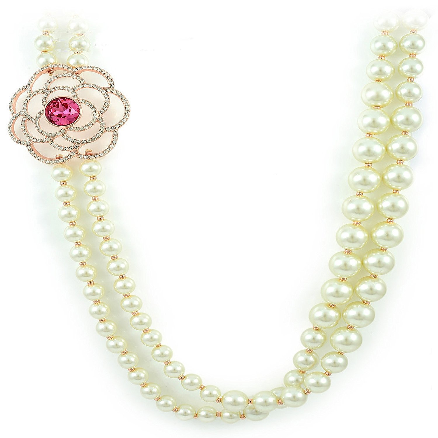 Amazon.com: viennois rhinestone cut flower with swarovski pink crystal imitation white pearl double chain 24 inches necklace: jewelry