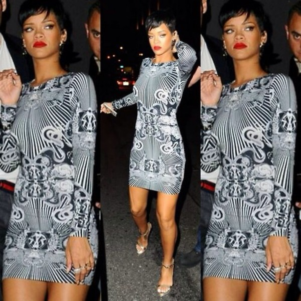 Rihanna Celebrity Animal Print Fitted Bodycon Dress Size 8