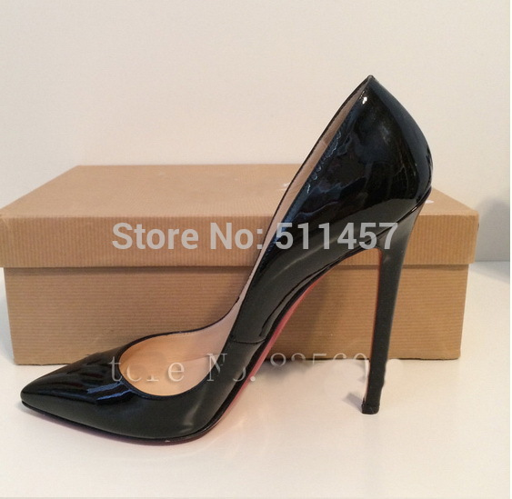 Basic brand red bottom shoes black patent leather pointed toe pumps women high heels big sizes 34 45 free shipping