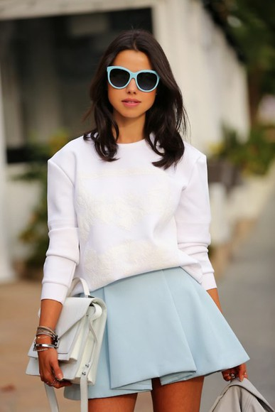 skirt pastel baby blue sunglasses top
