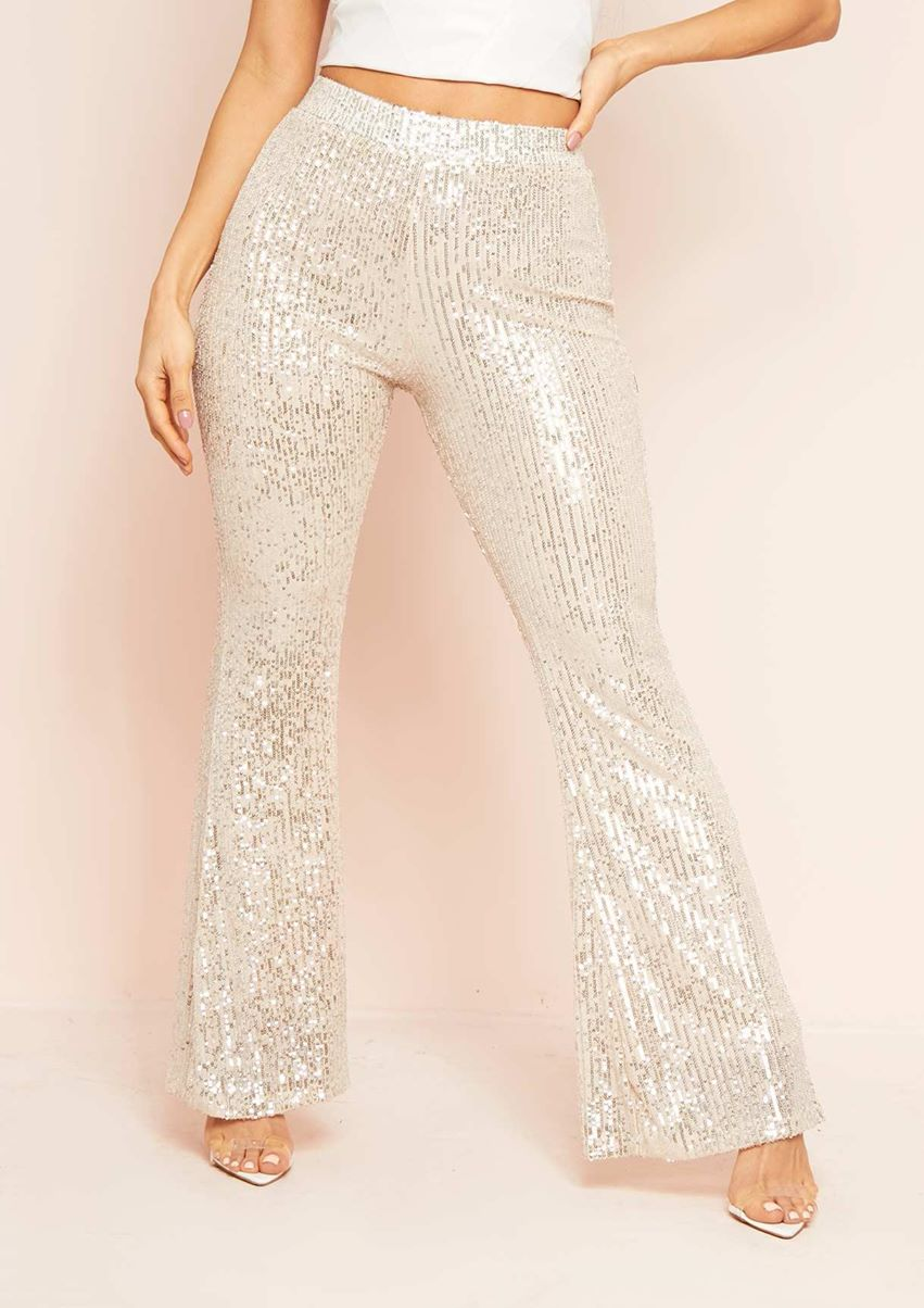 Hazel Silver Sequin Flare Trousers
