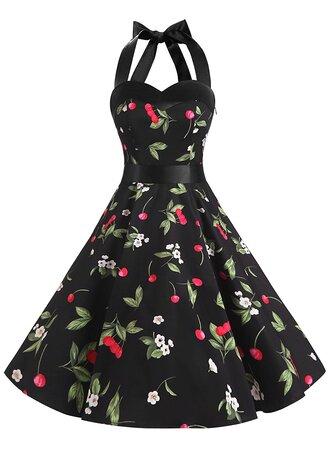 dress vintage dress rockabilly dresses 50s dresses floral dress halter dress retro dresses vintage style dresses black dress