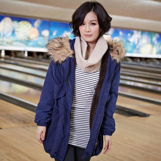 Faux Fur Trim Hooded Coat, Blue , One Size - Tokyo Fashion | YESSTYLE