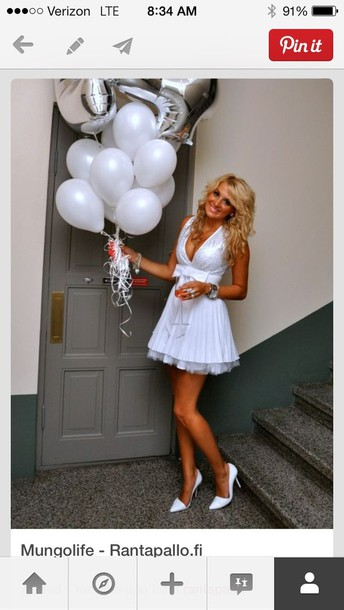 dress poofy bottom white dress sequin top