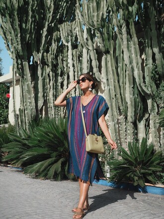 dress midi dress tumblr kaftan stripes striped dress sandals flat sandals bag crossbody bag sunglasses
