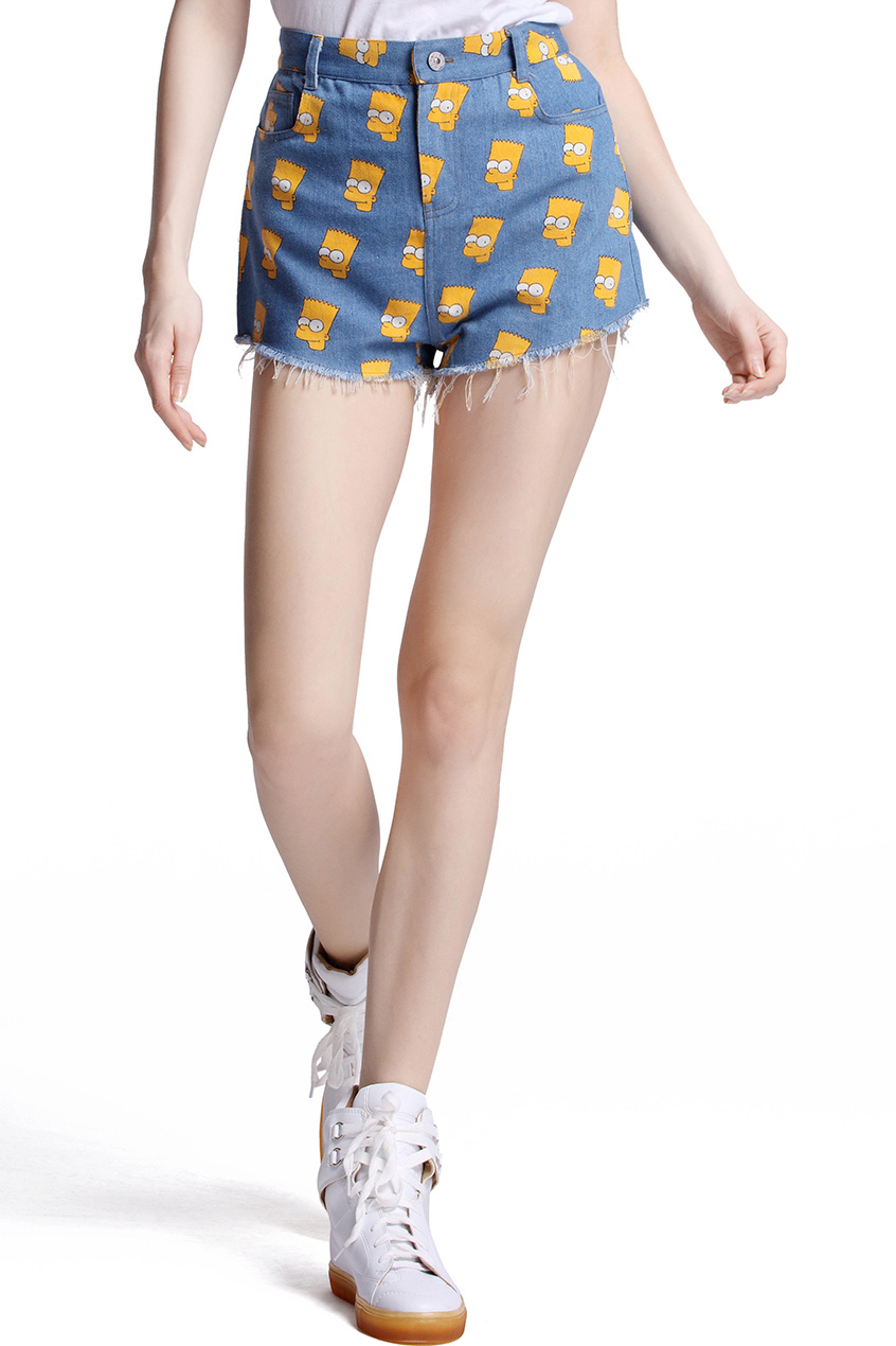 Simpson print denim shorts, the latest street fashion