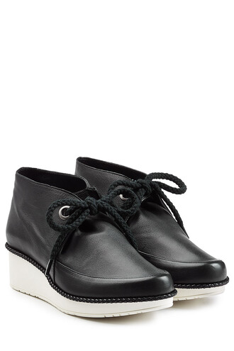 boots ankle boots lace leather black shoes