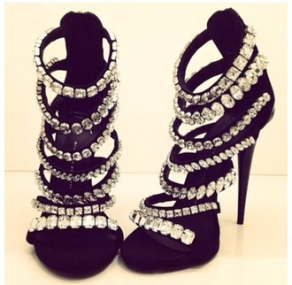 shoes rhinestones crystal heels black sexy fashion style fierce