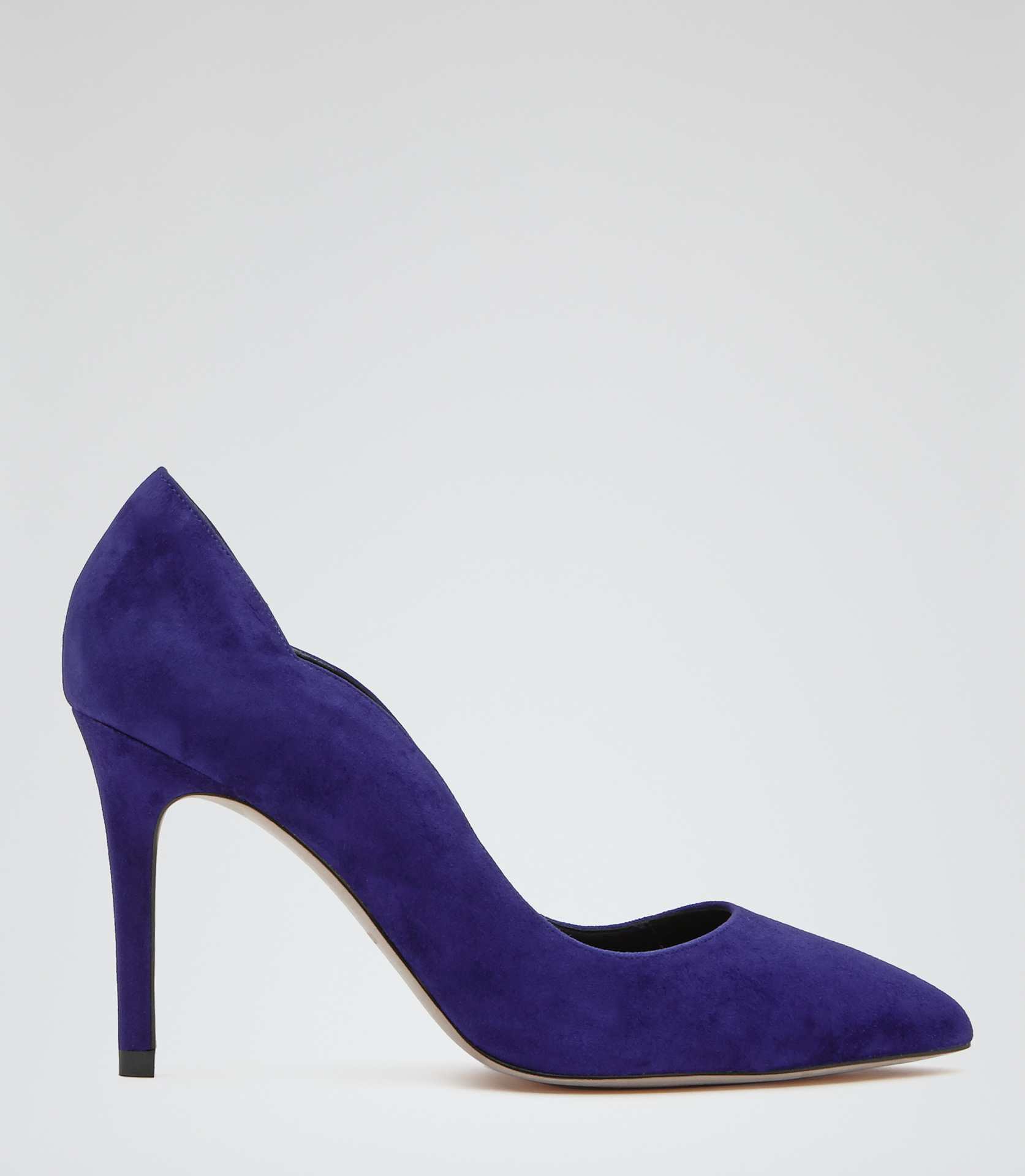 Harper Blue Scallop Detail Court Shoes - REISS