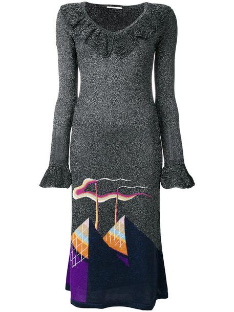 Marco De Vincenzo dress patterned dress metallic women black knit