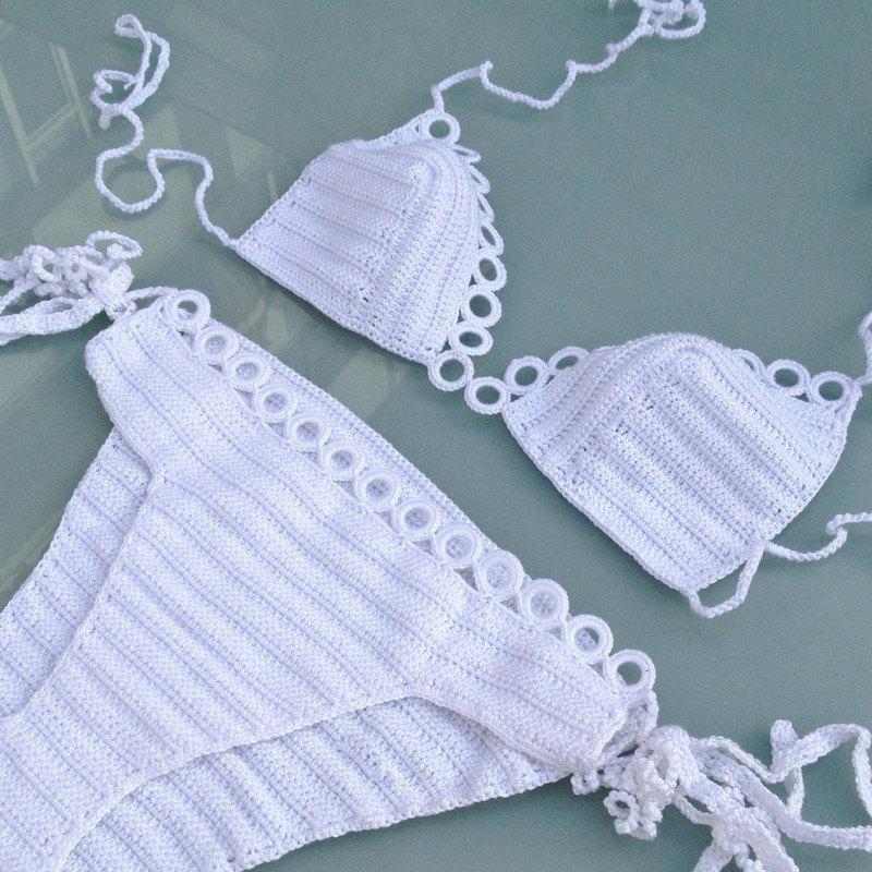New white crochet bikini top bikini bottoms swimsuits swimwear summer bikini set two pieces bikini beach fashion senoaccessory
