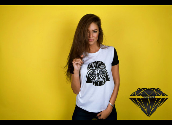 t-shirt darth vader black twinkle white diamonds
