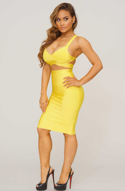 Bqueen Yellow Halter two-pieces Set Strap Bandage Dress H1085