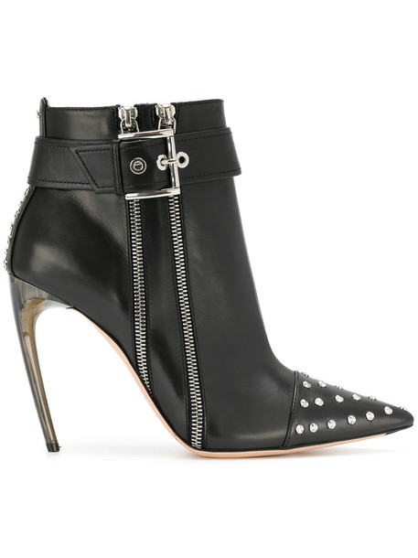 Alexander Mcqueen studded women ankle boots leather black shoes