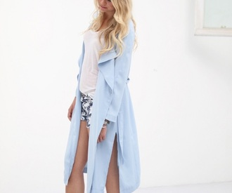 cardigan thin baby blue belt slit trench coat
