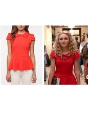 blouse,the carrie diaries,red,annasohpia robb,cute