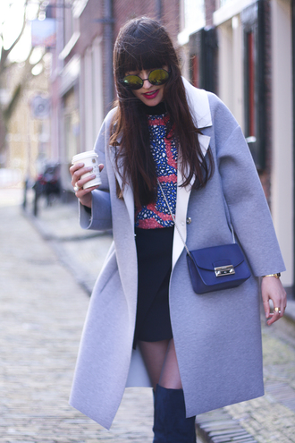 a dash of fash blogger shirt neoprene round sunglasses thigh high boots blue bag grey coat black skirt