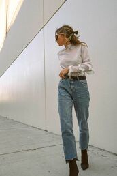 jeans,high waisted,boots,shirt,waist belt
