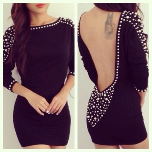 Dress Little Black Dress V Neck Dress Sexy V Neck Dress Pearl