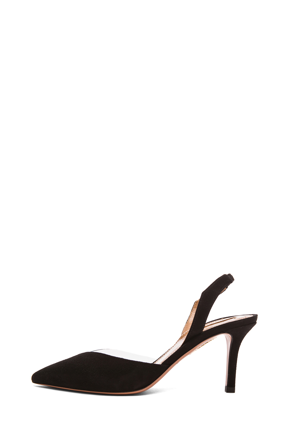 Aquazzura|Coco Suede and Vinyl Midheel Pointy Pump in Black