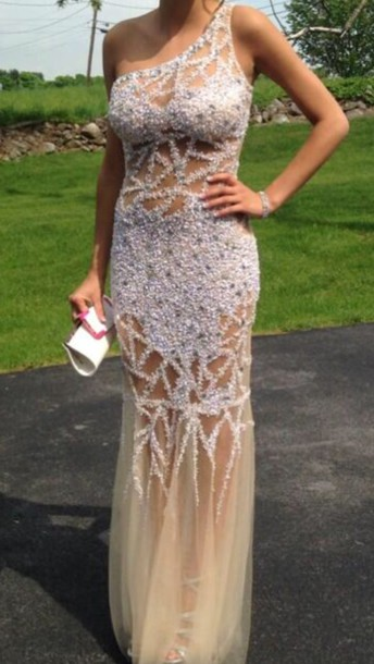 dress prom dress prom dress sparkly dress mesh dress one shoulder