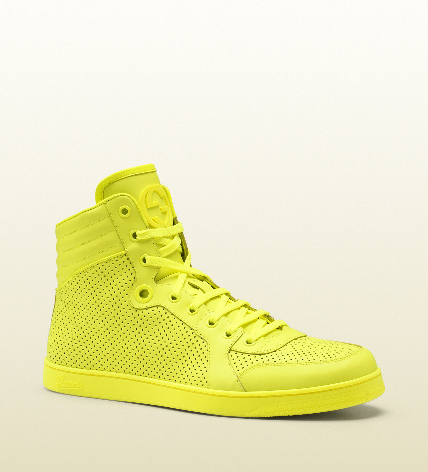 Gucci - neon yellow leather high-top sneaker 322730DBL507102