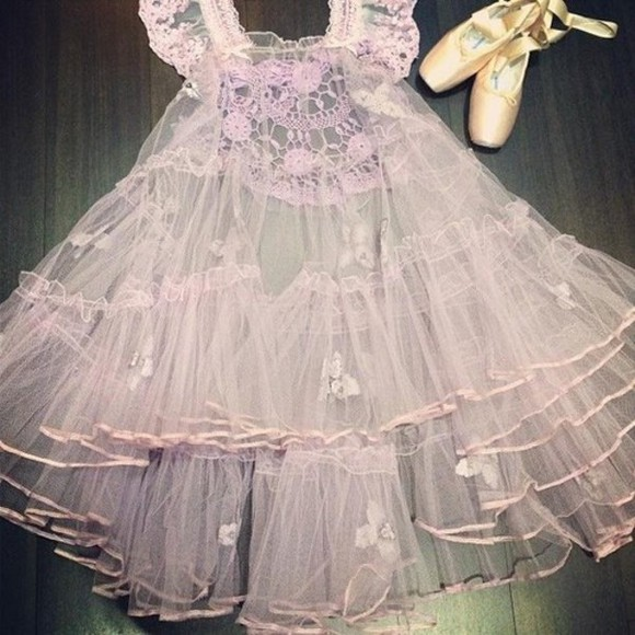 ballet pink dress lace purple flowers floral lace dress transparent tumblr kitchie dance ballerina
