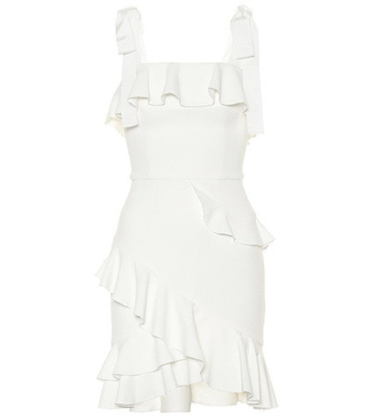 Rebecca Vallance Ruffled crêpe minidress in white