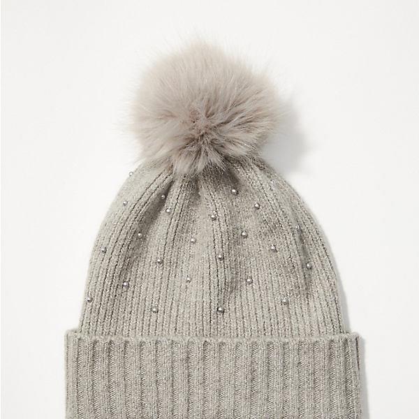 LOFT Pearlized Faux Fur Pom Pom Hat