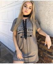 dress,lace up,lace up top,shirt dress,blouse,california top,drawstring,grey,tumblr outfit,tumblr,black choker
