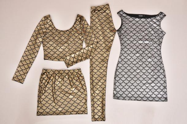 T shirt romwe skirt dress leggings golden silver for Fish scale shirt