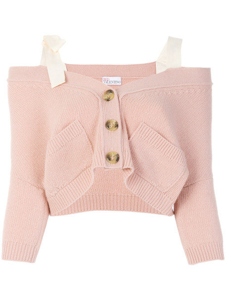 RED VALENTINO cardigan cardigan off the shoulder women nude cotton wool sweater
