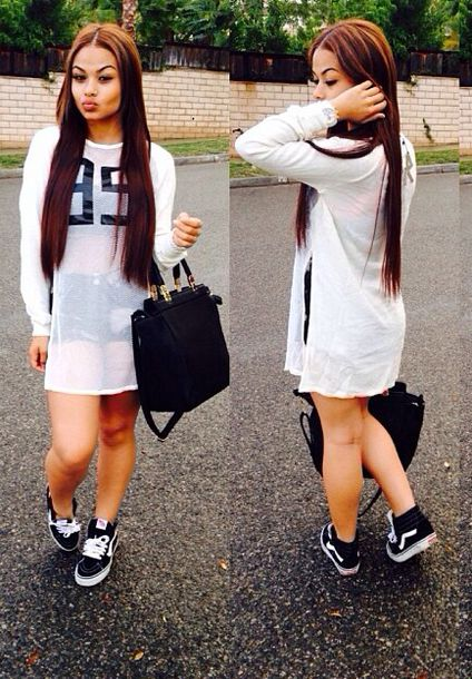 shirt jersey long sleeve dress white streetstyle streetwear model sporty shoes shorts vans india westbrooks black shoes bag blouse shirt white dress tumblr clothes tumblr girl top football shirts