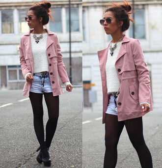 article 21 blogger jewels sunglasses knitted sweater pink parka shorts statement necklace