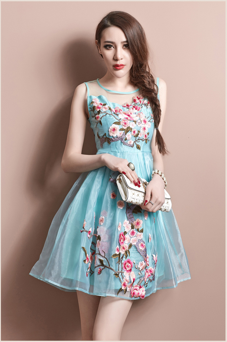 dress, flowers, flowers, blue, prom, pink, turquoise, blossom ...