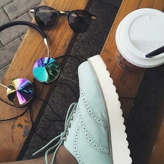 earphones hipster holographic shoes