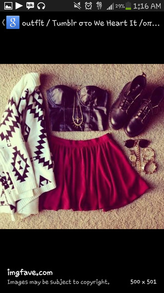 shirt t-shirt cardigan aztec leather moto boots combat boots spikes sweater skater skirt spring fall outfits summer sunglasses skirt coat shoes jewels