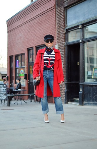 mysmallwardrobe blogger coat hat sunglasses scarf sweater jeans bag shoes red coat shoulder bag pumps spring outfits