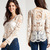 Hot Women Semi Sexy Sheer Sleeve Embroidery Floral Lace Crochet Tee Top Tshirt J | eBay